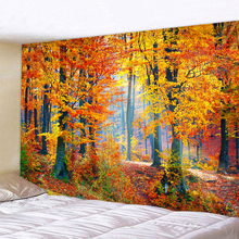 Autumn Forest Orange Tapestry Wall Hanging Sunlight Decorative Wall Carpet Bohemian Large Mandala Indian Polyester Thin Blanket forest stream sunlight waterproof wall hanging tapestry