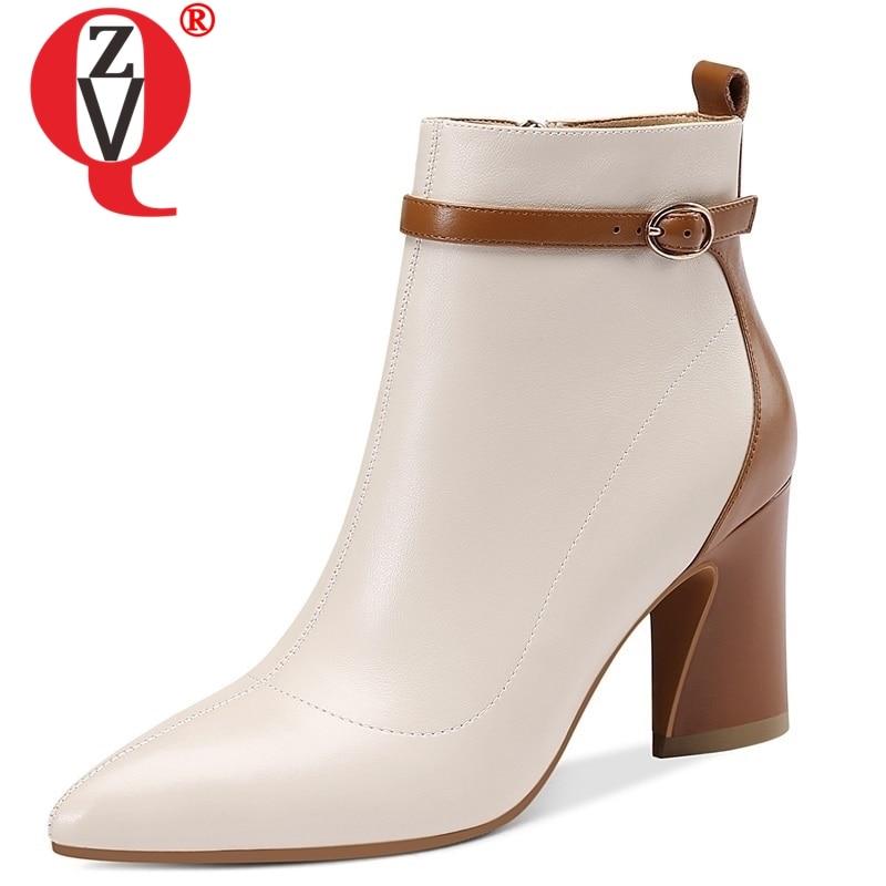 Zvq 2019 최신 패션 혼합 색상 정품 가죽 겨울 발목 부츠 지적 발가락 슈퍼 높은 이상한 스타일 지퍼 신발 여성-에서앵클 부츠부터 신발 의  그룹 1