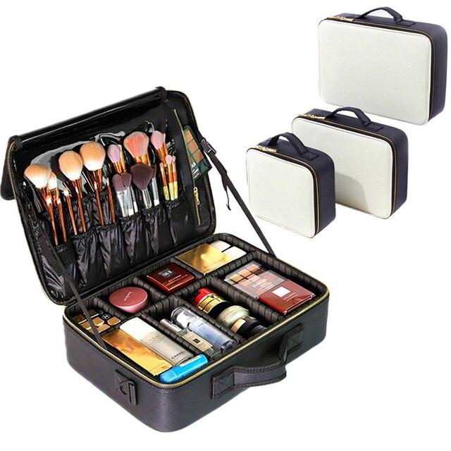 Professional Make Up Case Large Capacity Storage Handbag Travel Insert Toiletry Makeup bag Leather Clapboard Cosmetic Bag