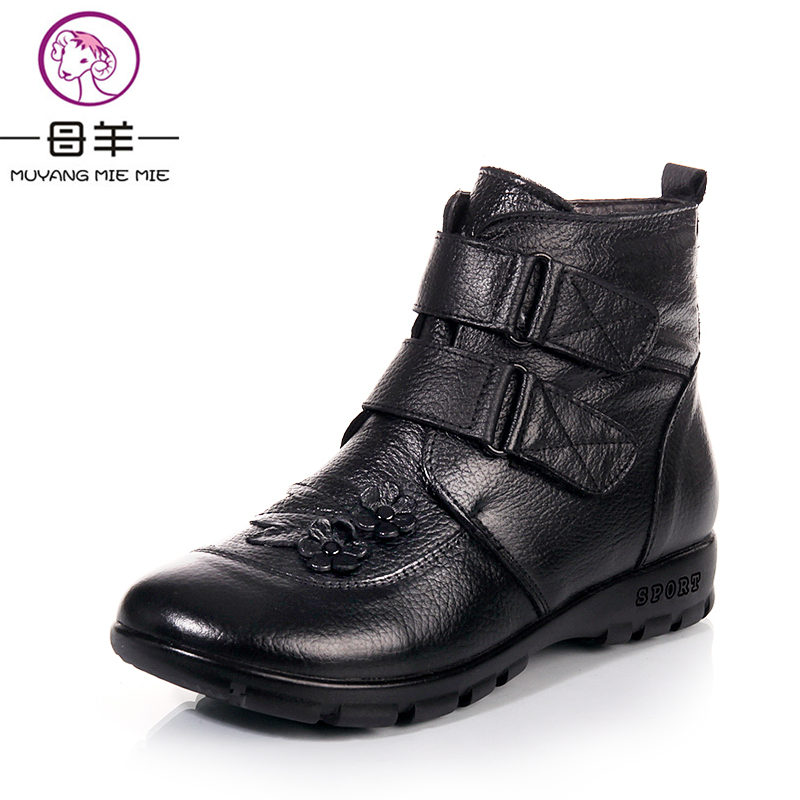 MUYANG MIE MIE Plus Size 35-43 Winter Women Shoes Woman Genuine Leather Flat Snow Boots 2018 Warm Ankle Boots Women Boots