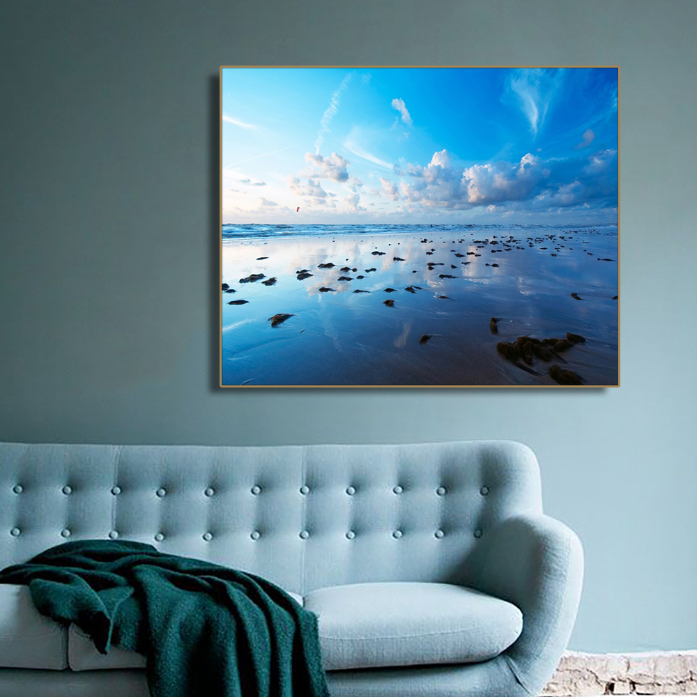 Cool Seawater Seascape Beach Wall Art Poster Print Canvas Painting Calligraphy Decorative Picture for Living Room Home Decor in Painting Calligraphy from Home Garden