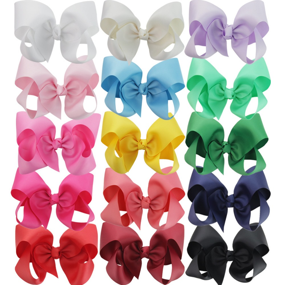 Sale 10Pcs/lot Cute Korean Big Bow Hair Clip Girls Solid 6 Inch Hairpins Flower Cloth Hair Accessoires Headband Princess Gift 2016 sale new arrival headband korean flower cartoon girls elastic hair bands accessories rope ties princess gift 6 pcs