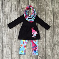 Baby Girls Fall And Winter 3 Pieces With Scarf Clothes Girls Children Troll Hair Outfits Black