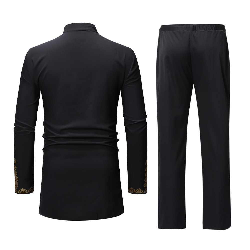 黒アフリカ Dashiki 印刷トップパンツセット 2 個衣装セット 2019 伝統的な男性アフリカ服カジュアルアフリカのためのスーツ男性