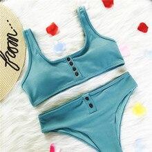 Сексуальный сплошной цвет бикини новая одежда для плавания женский Купальник Горячая кнопка бикини купальный костюм пуш-ап бразильский купальник