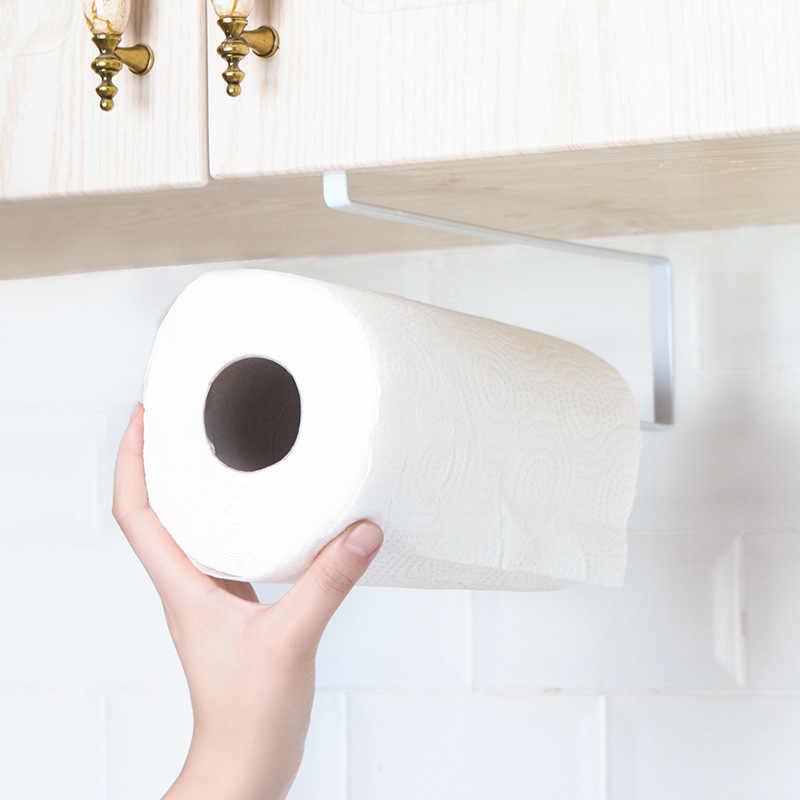 Armario de cocina estante de tejido de hierro colgador de paño agujero-puerta libre-parte trasera del baño libre de uñas plegable de papel toallero poste de toalla