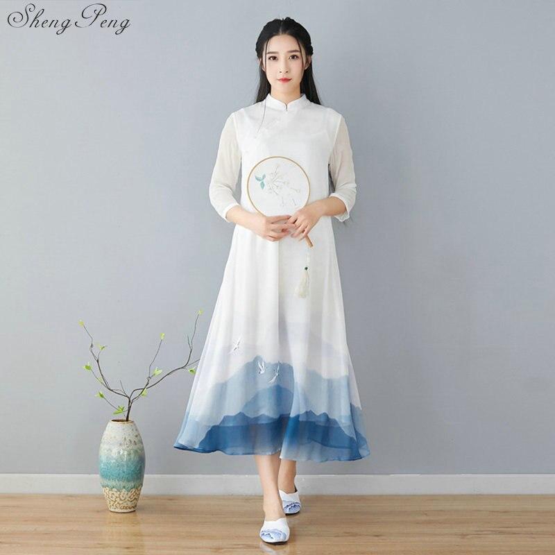 Cheongsam robe d'été filles nouveau slim traditionnel chinois vêtements pour femme élégante longue qipao robe longue cheongsam Q807
