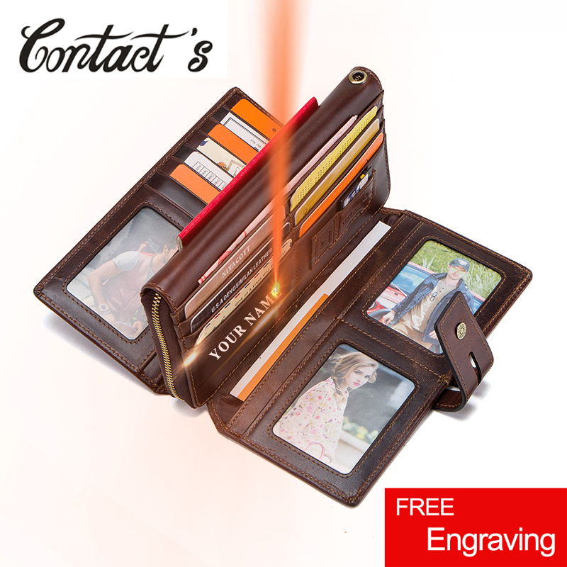 Contact s Genuine Leather Long Wallet Men Zipper Phone Clutch Wallets For Man Strap Coin Purse