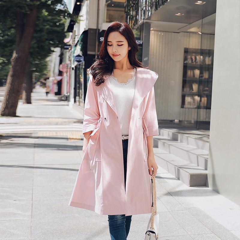 Dabuwawa Autumn Women Trench Hooded Windbreaker New Sportwear Casual Adjustable Waist Belted Streetwear Outerwear Coat