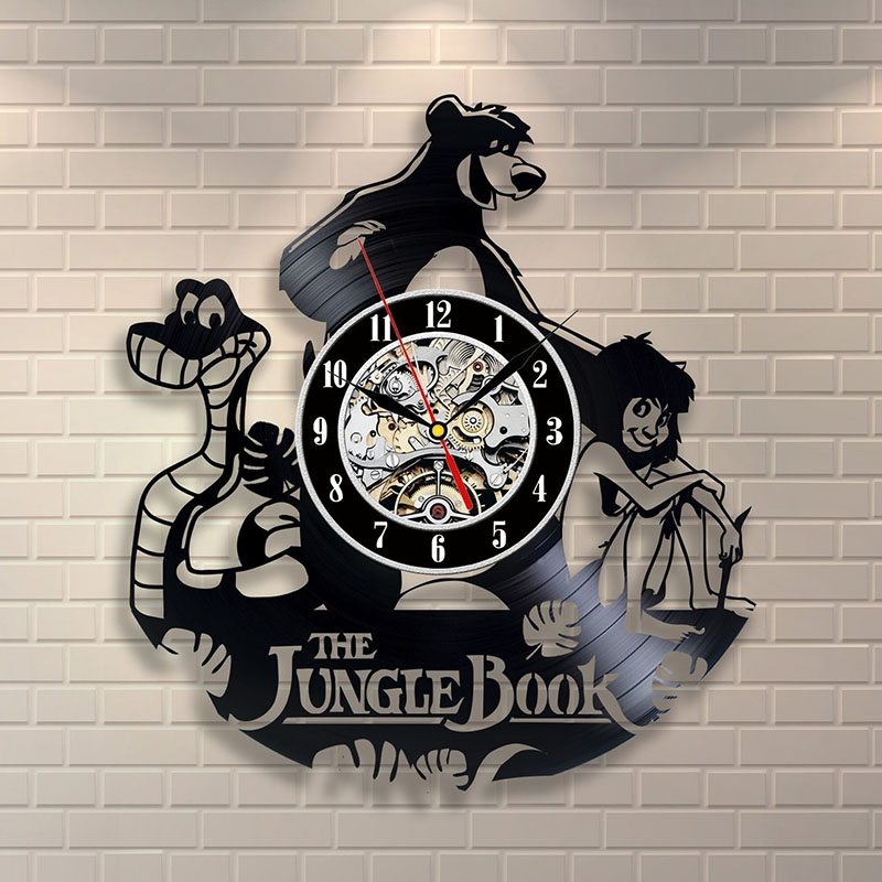 The Jungle Book Mowgli Vinyl Record Wall Clock - Decorate your home with Modern Art - Gift for kids, girls and boys LED Clock
