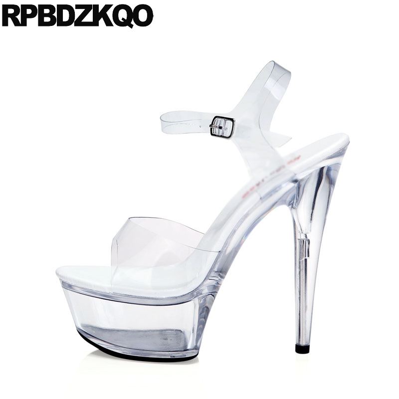 Pumps Stripper Sexy High Heels Clear Strap Stiletto Glass Shoes Sandals  Crossdressed Perspex 11 Large Size Women Fetish Plastic 0c543adf8638