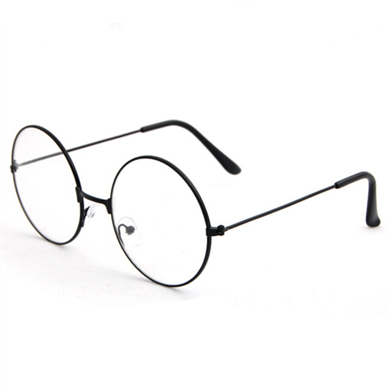New Women Men Retro Large Round Transparent Lens Glasses Metal Black Silver Gold Optical Eyeglass Frame Spectacles Eyeglasses
