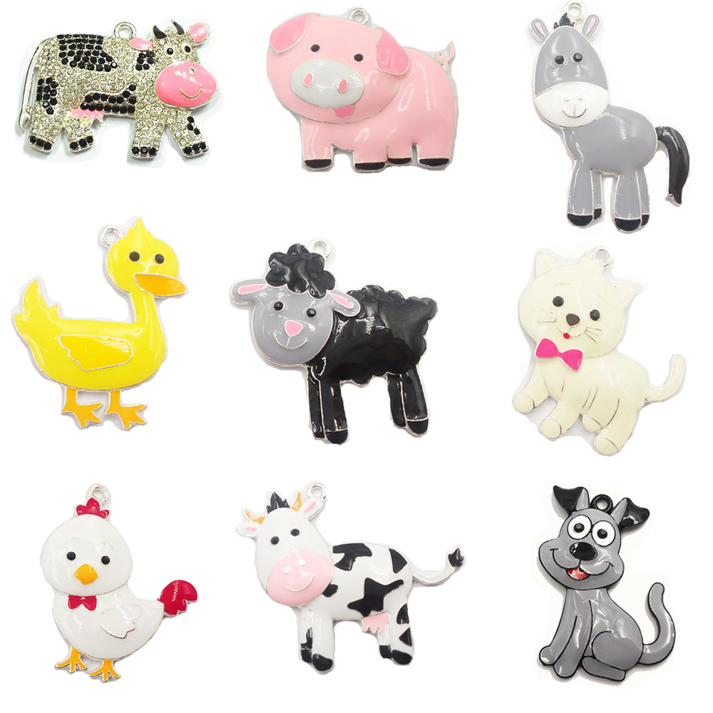 ( Choose Design First ) 10pcs/bag Farm Animal Series Full Enamel Pig,Dog,Cat,Cow,Sheep,Duck,Donkey Pendants For Necklace Making