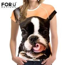 FORUDESIGNS Animal Dog T Shirt Women Bulldog Printed Summer Tees Teenagers Harajuku Short Sleeve Tee for Girls kawaii Top