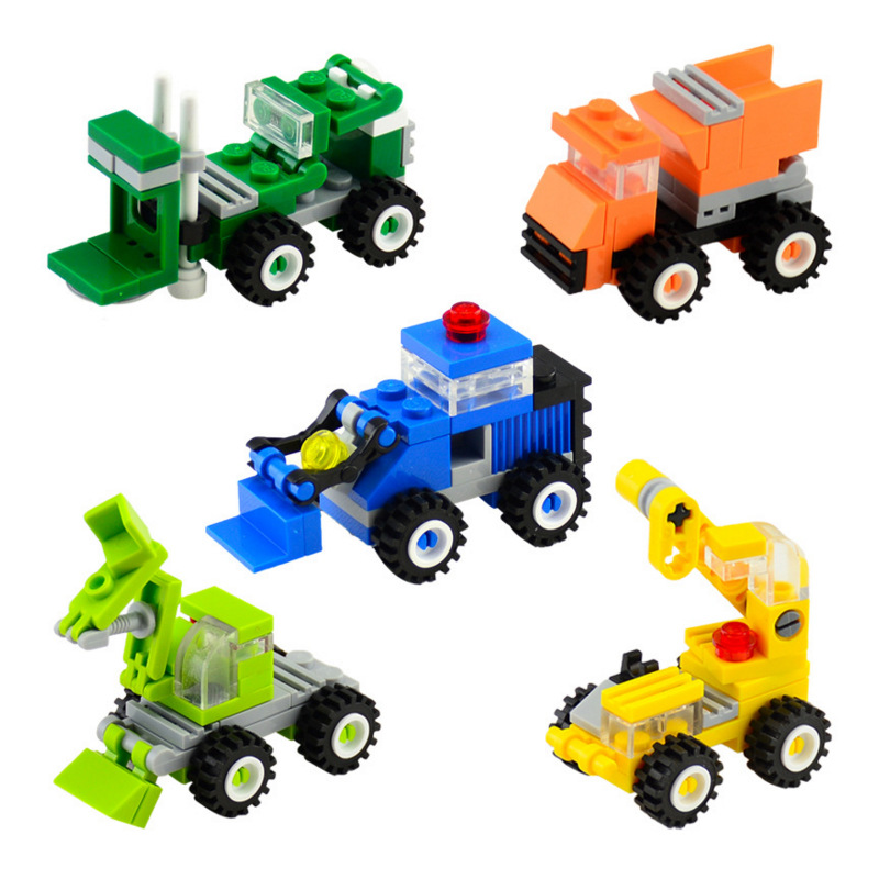 SLPF Children Education City Building DIY Assembled Building Blocks Brick Excavation Bulldozer Toys Gift Compatible Legoing N18