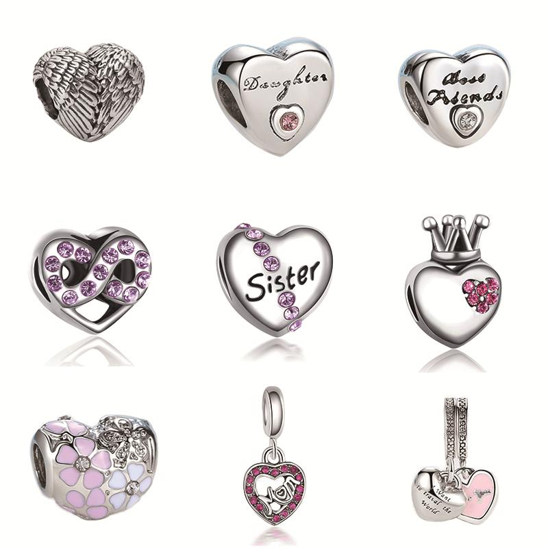2017 Silver Plated Bead Angel Wings And kinds of Hollow Love Heart Charm Beads Fit Pandora Women Diy Bracelets Bangles Jewelry