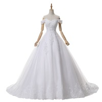 Elegant Bride Vestidos De Novia 2017 Wedding Dress Ball Gown Cap Sleeve Princess Saudi Wedding