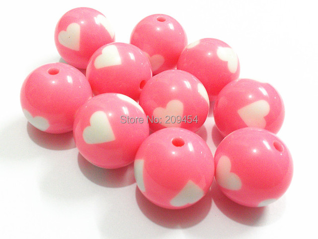 (Choose Size First) 12mm/16mm/20mm  Pink  With White Heart Solid Beads