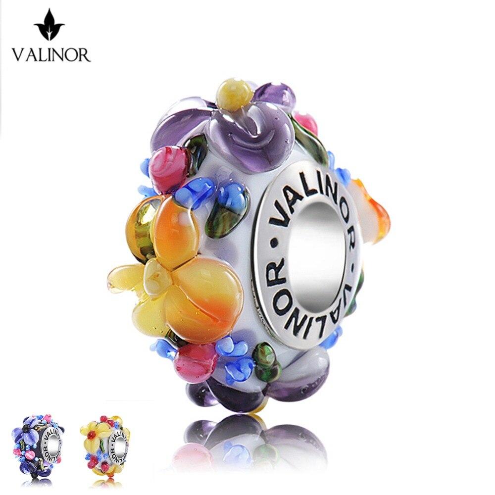 Histoire de fleurs Verre Perles Charmes 925 Sterling Argent Fit Original Bracelets & Bangles Femmes Bijoux Accessoires GCLL039-1