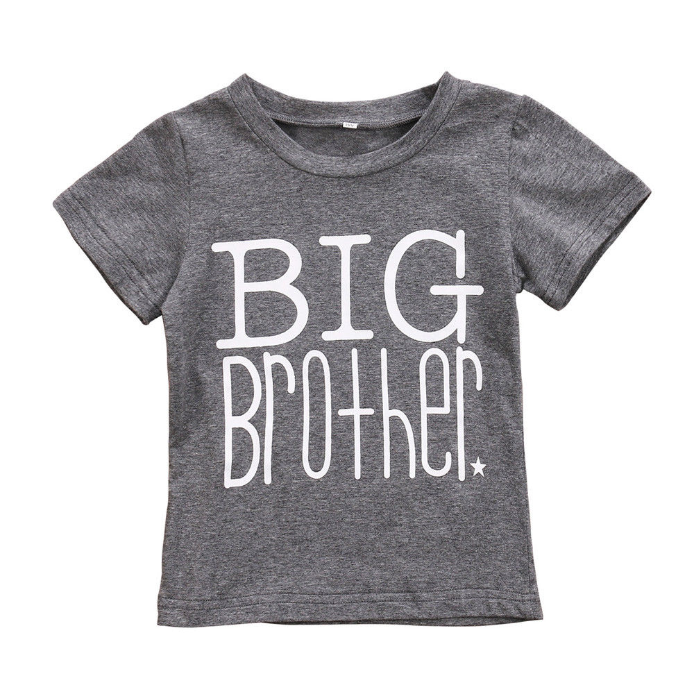 PUDCOCO Cute Kids Boys Big Brother T-shirt Baby Summer Casual Gray Letter Suit 1-6Y