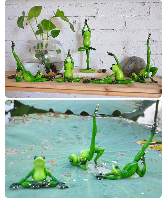 Resin Creative 3D Yoga Frogs Figures Basket Decoration Figurine  Model,flowerpots,Garden Decoration,