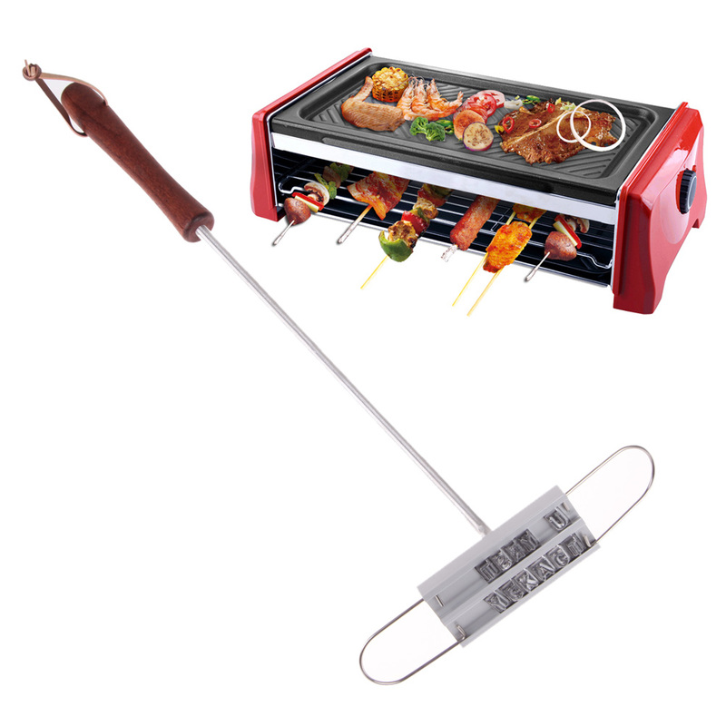 Stainless Steel BBQ Tools Personality Steak Meat Barbecue BBQ Meat Branding Iron with Changeable Letters Changeable 55 Letters