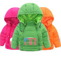 Keep Warm Down Coat for Baby boys Double Zipper Hooded Letter Winter Jackets Doudoune File Kids Outerwear Jacket 18m-tT dj043