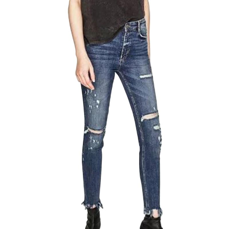 Jeans Woman Ripped Boyfriend Jeans For Women 2017 Femme Fashion Hole Skinny Jeans Denim Mid Waist Blue Full Length Pants jeans woman summer ripped boyfriend jeans for women red lips denim mid waist distressed pencil pants femme casual long pants z15