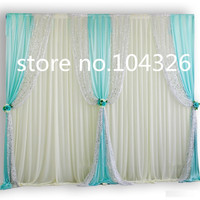 3*3m 10FT wedding supplies party skyblue sequins 58D ice silk fabric stage prop decoration Drape curtain Backdrop with swag