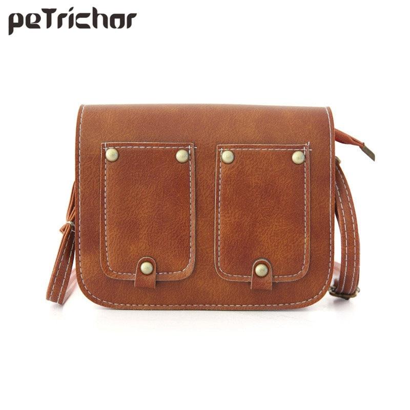 2018 Woman Crossbody Bag Solid Casual Zipper&Hasp Ladies Rivet Shoulder Bags 8 color PU Famous Brand Fashion Phone Pocket