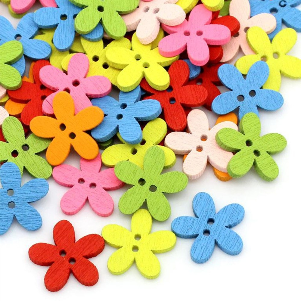 DoreenBeads Wood Sewing Buttons Scrapbooking Craft Garment Clothes DIY Supply Flower 2 Holes Color At Random 14 x 15 mm, 20 PCs