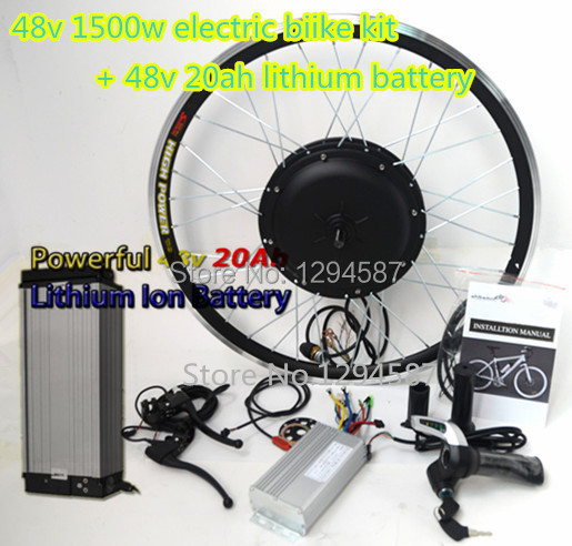 The 70kph speed electric bicycle engine kit 48v 1500w electric bicycle kit with 48v 20ah lithium battery free shipping 48v 15ah battery pack lithium ion motor bike electric 48v scooters with 30a bms 2a charger