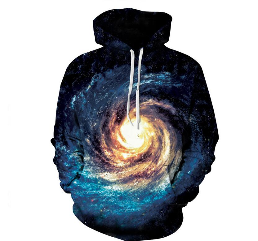 S-XXXL 2018 Autumn Men/Women Hooded Hoodies Print Hoodies Black Hole Stars Space Galaxy 3d Sweatshirs with hat Unisex Pullovers