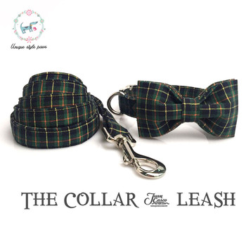 Green Plaid collar and leash set with bow tie.