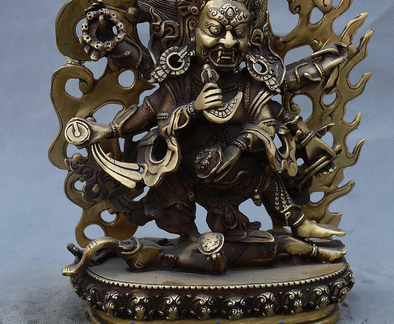 Tibet Buddhism Brass Vajrapani Chana Dorje wrathful Tutelary Deity Statue