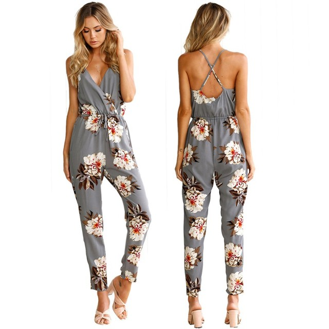 b548df448a8b Summer Fashion Female Jumpsuits Sexy Women V-Neck Straps Floral Print  Jumpsuit Loose Lady Backless