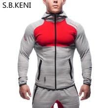 S.B.KENI 2017 splicing hoodie camisetas masculina men coat bodybuilding and fitness hoodie muscle men's sportswear