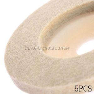 Image 3 - Disques de polissage en laine, 4 pouces, 100mm, 5 pièces, tampons de polissage pour meuleuse dangle, disque de polissage en feutre pour métal, marbre, verre, céramique