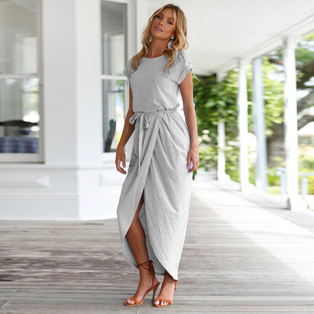 Frauen Boho Lang Maxi Strand Kleider Sommerkleid ...