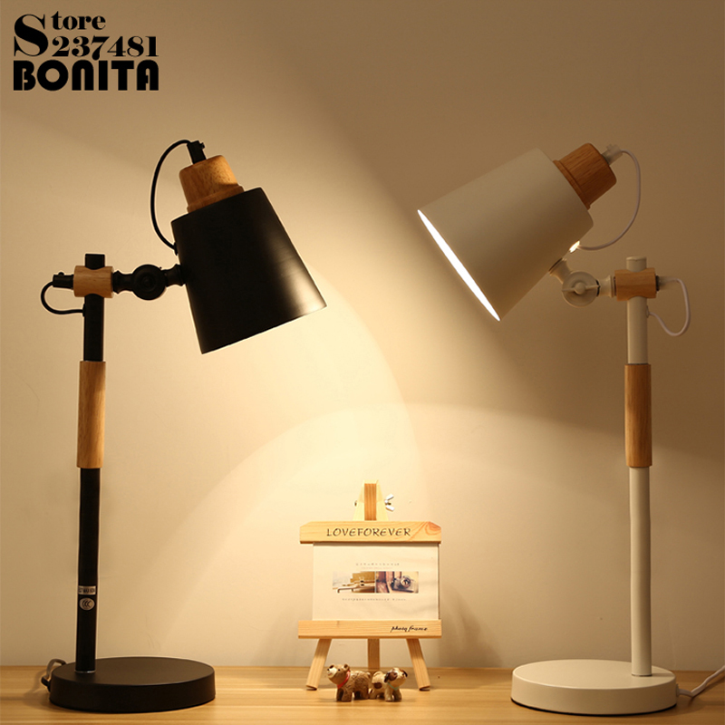 Nordic bedside table lamps for bedroom LED eye protect students dorm reading desk lamp Rotating Wood Iron table light new black white table lamp creative solid wood iron led desk lamps modern eye protection lights for bedroom bedside office decor
