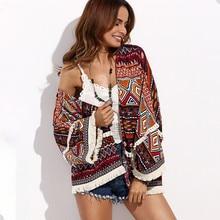 Bohemian Style Print Plus Size Tassels Cardigan Vintage Beach Cover-ups Kimono Blouse Tops for Women