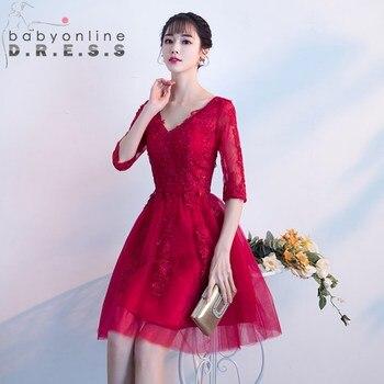 1023f595d0a Пикантные V образным вырезом кружево Красный Тюль Homecoming платья для  женщин аппликация реальное изображение короткие специальные Occssion