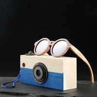 Angcen round sunglasses kids polarized bamboo Sun glasses boys girls Vintage retro wooden sunglasses Children with case