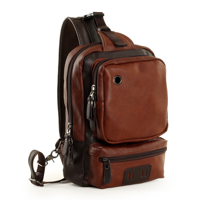 New Backpack Men Europe Design Student Men s Travel Bag Leather Backpack  One Shoulder Chest Bag Male Triangle Back Pack Rugtas-in Backpacks from  Luggage ... 2a3abed47e038