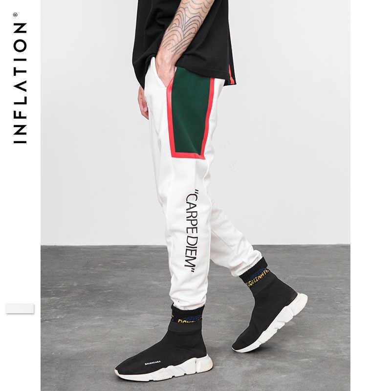 Инфляции 2018 FW с принтом букв Для женщин Для мужчин брюки с резинками на щиколотках спортивные штаны хип-хоп Стиль сбоку Полосатые Карманы ретро брюки 8839 W