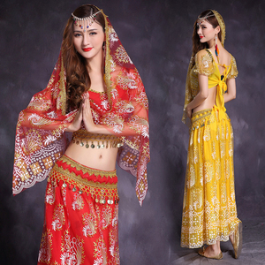 Image 2 - 5 Pcs Belly Dance Costume Bellydance performance Gypsy Indian Dress Dancewear Belly Dance Bollywood Dance Costumes