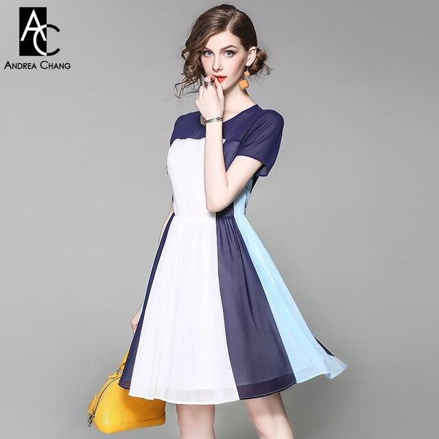 3c32e280a95 € 39.95 25% de DESCUENTO|Primavera Verano pasarela diseñador mujer vestido  blanco azul oscuro cielo azul patchwork vestido de fiesta moda alta ...