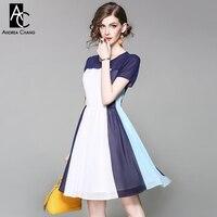 Spring Summer Runway Designer Woman Dress White Dark Blue Sky Blue Patchwork Dress Ball Gown Fashion