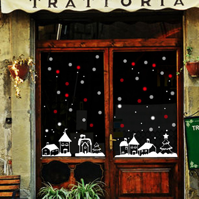 Christmas Window Decoration Wall Stickers Snowflakes Town Decorations For Home Sticker
