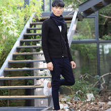Mens Casual Sweaters Cardigan Thick Sweater Knitting Outerwear Coat Winter Black Blue Chinese Japanese Style Nakali M1090 Cotton